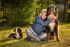 Woman with dogs Stock Photos