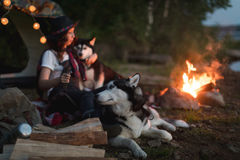 Woman with dogs on nature Stock Photography