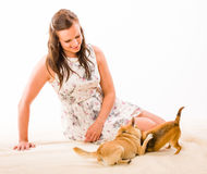 Woman and dogs Royalty Free Stock Photos