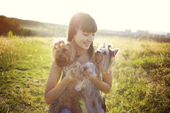 Woman with dogs. Young woman with dogs on the walk Stock Photos