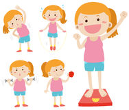 Woman doing activities for weightlose. Illustration Royalty Free Stock Images