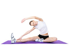 Woman doing aerobic exercises Stock Images