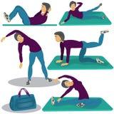 Woman doing aerobics. Vector illustration of a woman doing aerobics - five different positions Stock Photos