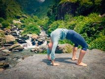 Woman doing Ashtanga Vinyasa Yoga asana Urdhva Dhanurasana Stock Photos