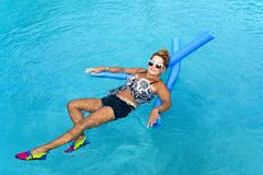 Woman doing Auqua Fitness Stock Images