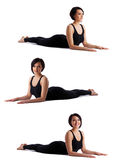 Woman doing back bends yoga - sphinx pose isolated Stock Image