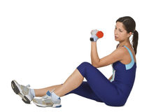 Woman doing a barbell exercise Royalty Free Stock Photography