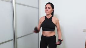 Woman doing boxing exercises. Stock footage video stock footage