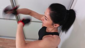 Woman doing Boxing Workout top view stock footage