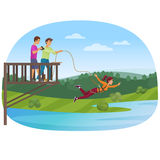 Woman doing bungee jumping with the friends vector illustration. Royalty Free Stock Photography