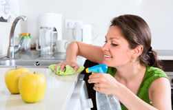 Woman doing chores in kitchen Stock Image