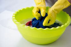 The woman doing cleaning at home Stock Photos