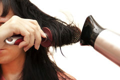 The woman doing a coiffure Royalty Free Stock Images