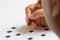 Woman doing crossword Stock Image
