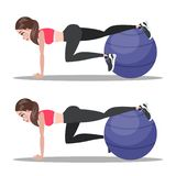 Woman doing crunches in the gym. Belly burn. Woman doing crunches on fitness ball in the gym. Belly burn workout. Girl make exercise. ABS workout. Healthy and royalty free illustration