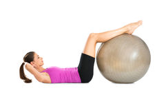 Woman Doing Crunches With Pilate Ball Royalty Free Stock Image