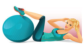 Woman Doing Crunches Stock Images