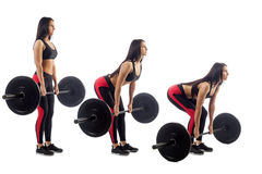 Woman doing deadlift stock photos