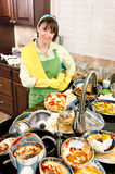 Woman doing the dishes Stock Images