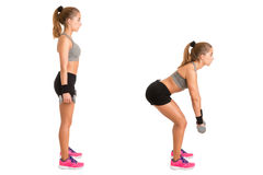 Woman Doing Dumbbell Deadlift Royalty Free Stock Images