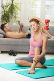 Woman doing dumbbell exercise Royalty Free Stock Image