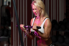 Woman Doing Exercise For Biceps Royalty Free Stock Photo