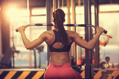 Woman doing exercise for chest and back, back view stock photography