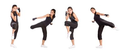 Woman doing exercise, isolated on white. Active woman doing exercise, isolated on white royalty free stock photos