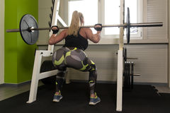Woman Doing Exercise For Legs With Barbell Stock Images