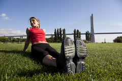 Woman doing exercise outdoor Stock Photos