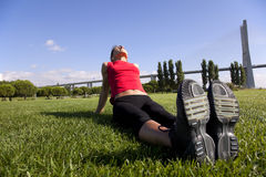 Woman doing exercise outdoor Royalty Free Stock Images