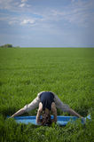 Woman doing exercise for transverse twine Royalty Free Stock Photo