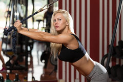 Woman Doing Exercise For Triceps Royalty Free Stock Photo