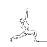 Woman doing exercise in yoga pose. Continuous line drawing. Woman doing exercise in yoga pose. Vector Illustration Stock Images