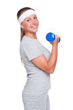 Woman doing exercises for biceps Royalty Free Stock Photo