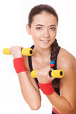 Woman doing exercises for biceps Royalty Free Stock Image