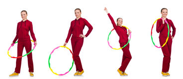 The woman doing exercises with hula hoop Stock Image