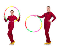 The woman doing exercises with hula hoop Stock Images