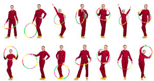 The woman doing exercises with hula hoop Royalty Free Stock Photography