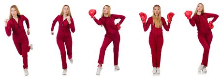 The woman doing exercises isolated on the white Stock Photos