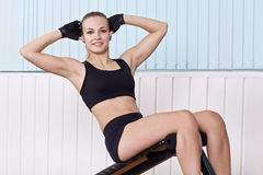 Woman doing exercises for press Stock Photo