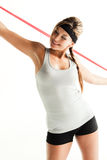 Woman doing exercises with resistance band Stock Photos