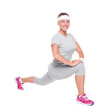 Woman doing exercises and smiling Stock Image