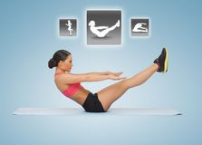 Woman doing exercises with virtual application Royalty Free Stock Images