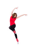 Woman doing exercises on white Royalty Free Stock Photography
