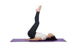 Woman doing exercises on white Royalty Free Stock Photo