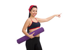 Woman doing exercises on white Royalty Free Stock Image