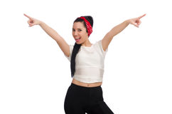 Woman doing exercises on white Royalty Free Stock Images