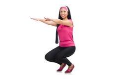 Woman doing exercises on white Royalty Free Stock Photos