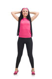 Woman doing exercises on white Stock Image